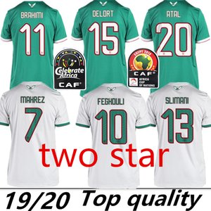 2 звезды 2019 Чемпион Африканский Кубок Алжир Футбол Джерси Махрез Фегули Слимани Брахими Футбол Футбол футбол 19 20 Алжир Майол-де ны