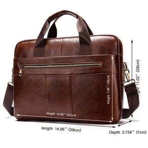 Cc Office Messenger Portable Laptop Men's 14inch Shoulder Bag Simple Business Leather Retro Briefcase Handbag Multifunctional Ifvlv