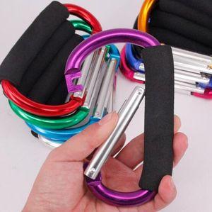 Esponja grande colorido aleación de aluminio en forma de D botón de escalada mosquetón llavero zapatos de patinaje al aire libre hebilla bolsa de supermercado hebilla