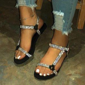 JAYCOSIN 2020 Orijinal Yapay elmas Bling Kadınlar Sandalet Sıcak Satış Moda Yaz Kadınlar Flats Topuk Sandalet Kadınlar Denizi Siyah Ayakkabı