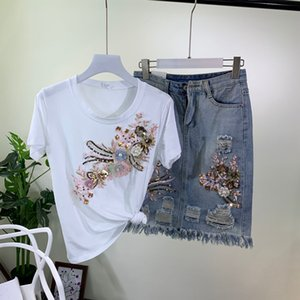 2020 Summer New Fashion Denim Skirt Women Outfits Heavy Industry Tattered Jeans Skirt Wrap Buttock Skirts+white Sequins T-shirt