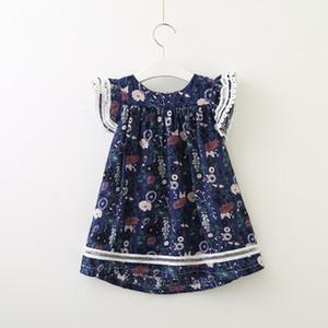 Kız Çiçekli Elbise Çocuk Moda Pileli Etekler Çocuklar Sevimli ve tatlı Stil Elbiseler Etek Çocuk Casual Lolita Stil Bezi Toptan yazdır