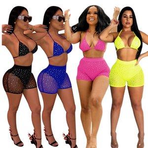 Set da donna Summer Two Shining Bra Top + Short Pants Ladies Mesh Swim Bacless Outfit Set da donna Sexy Club Tuta