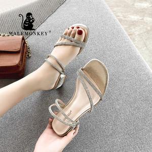 MALEMONKEY 023164 Ladies Trendy Sandales 2020 Sandales Nouveau été Pantoufles avec boucle cheville Chaussons Designs Femmes