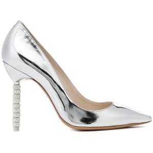Gold Silber Spiegel Leder Damen Pumps Strass Stud High Heels spitze Slip auf Kristall Ferse Hochzeit Kleid Schuhe