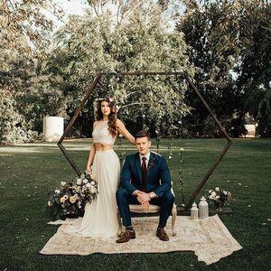 2019 Cheap New Two Piece Wedding Dresses Halter Lace Chiffon Floor Length Boho Bridal Gowns Plus Sizes Bridal Dress