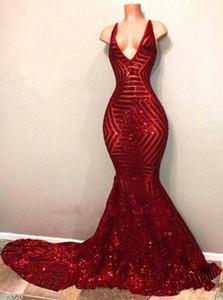 Baratos vermelhos lantejoulas Prom Dresses 2020 mangas Sereia Mergulhando Evening Party Girl V Neck Preto Vestidos BA7779