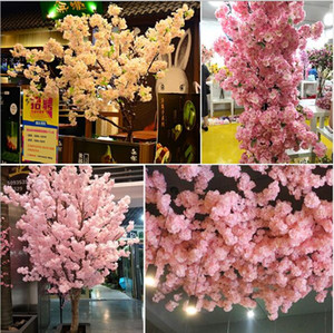 Simuled Cherry Blossom Plantas artificiales Decoración del hogar Silk Cherry Blossoms Artificial Bouquet Festival de boda Flor decorativa
