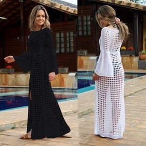 Женское пляжное бикини прикрыть длинное платье кафтан Летнее платье макси Boho Купальники Сетка Прозрачный пляжный сарафан Плавание