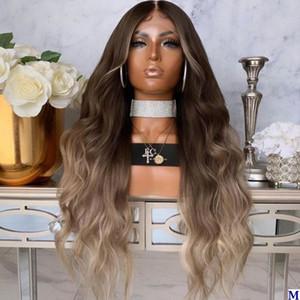 Ombre onda do corpo Silk Base de rendas frente perucas de cabelo humano da Mulher Negra Glueless 180Density perucas completas do laço Remy cabelo descolorido Knots