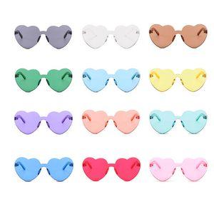 Amor do Coração Sunglasses Mulheres sem aro Quadro Tint Limpar Lens Colorful Sun Glasses Vermelho Rosa Amarelo Acessórios de Viagem Shades