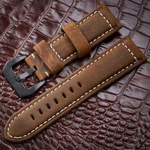 Bracelets de montre 20 22 24 26mm En Cuir Véritable Brun Foncé Noir Homme Femmes À La Main Vintage Scrub Montre-Bracelet Bande En Métal Boucle En Métal T190620