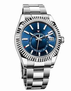 럭셔리 시계의 새로운 남성 자동 기계 달력 42mm 시계 스테인레스 스틸 스카이 거주자 GMT는 발광 비즈니스 방수 30M 시계 망