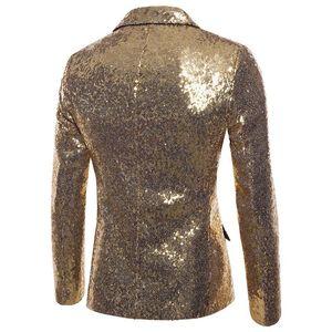 Tek Düğme Erkek Parti Blazer Moda Kasetli Skinny Mens Kulübü Coats V Yaka Payetler