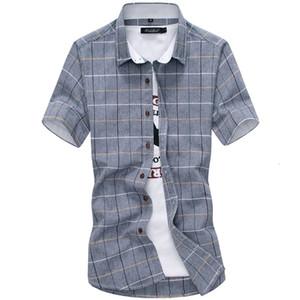 2019 Новый Клетчатые рубашки Мужчины моды 100% хлопка с коротким рукавом летом Повседневная Мужчины Рубашка Камиза masculina Мужские рубашки платья