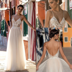 2020 Nuovo Gali Karten pizzo Beach Abiti da sposa senza spalline in rilievo robe de soiree Backless lungo Boho Wedding Gowns Brdial