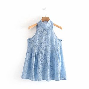 2019 women sexy hollow out lace blouse chic sleeveless halter shirts back bow tied chemise blusas femininas summer tops LS3730