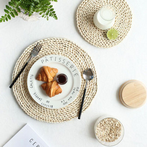 Rodada Rattan Placemats Natural Straw Woven jantar Mesa Mats isolamento térmico Pot Holder Cup Coasters Acessórios de cozinha