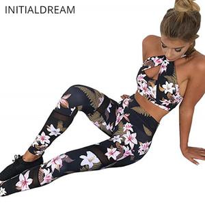 Dos piezas de INITIALDREAM floral de las mujeres chándal, Halter Top Crop Legging Conjunto Deportiva Ropa de deporte