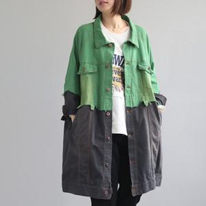 2019 осень женская с длинным Denim пальто для женщин Vintage Сыпучие Denim Верхняя одежда Casual Street Wear Лоскутная Jeans Trench Femme