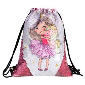 New 2019 summer cheap wholesale Sequined Drawstring backpack Unicorn Printed Cute Little Girl Fashion travel outdoor Sports Backpack