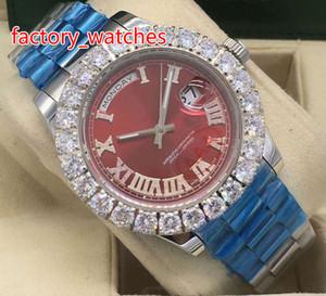 프롱 세트 다이아몬드 손목 시계 43MM 실버 스테인레스 스틸 자동 기계는 남성 무료 배송 시계 부드러운 청소 손을 작동