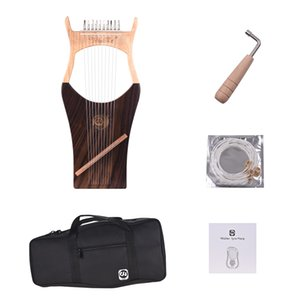 Walter.t 10-String Wooden Lyre Harp Nylon Strings Spruce Topboard Beech Wood Backboard String Instrument with Carry Bag WH03