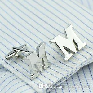 cloth DY new High grade 1 Brass material Silver letter M Cufflinks Men's French shirt Cufflinks free shipping M1