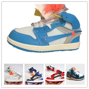 Diseñador de lujo UNC High OG 1s Zapatillas de baloncesto juveniles para niños Blanco University Azul off Born Baby Infant Toddler Trainers Boys Girls Sneakers