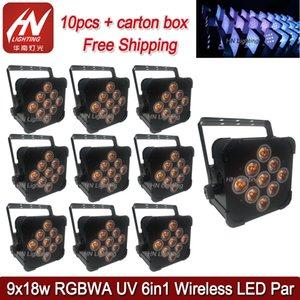 10pcs RGBWAUV 6in1 Pil Kablosuz Flat Par 9X18watt Ledler Kablosuz Pil DMX Led PAR Işık DJ düğün yukarı aydınlatma parti par