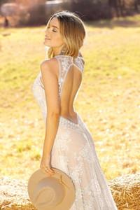 Encaje con espalda abierta Sirena Vestidos de novia Correas transparentes Cuello en v Largo País Vestidos de novia de verano 2019 Vestito da sposa sirena