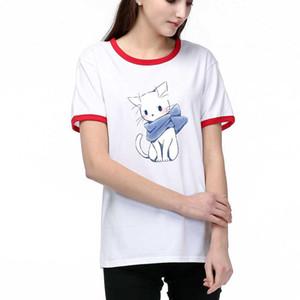 Марка женщин Дизайнер футболки Luxury Printed DIY Тис 2020 лето мультфильм T рубашка 2 цвета Размер S-2XL T003A447