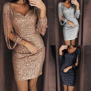 Vestido de Moda de Nova Mulheres V Ncek Mini Sequined Glitter costura Brilhante Clube Bainha Manga comprida Sólidos de roupas de grife fêmeas