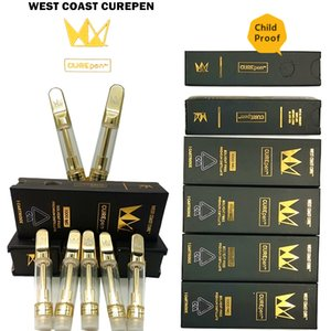 West Coast Cure Pen Cartridges Packaging 0.8ml 1.0ml CurePen Disposable Ceramic Coil Carts 510 Thread Golden Metal Tip with Childproof Boxes