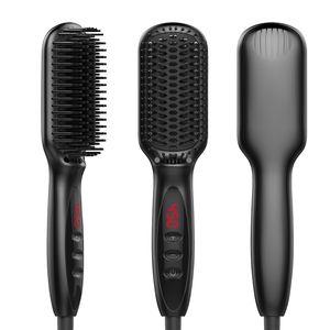 İyonik Saç Düzleştirici Fırçası Irons Tarak Salon Hızlı Isı Seramik Saç Düzleştirici Fırçası Hızlı Sakal Düzleştirici PTC hızlı ısıtın
