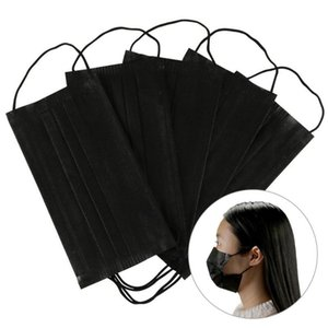 Disposable Masks Black Cotton Face Mask Anti Dust Protective Safety 3 Layer Earloop elastic for mask Women Mens Facemask Free Shipping