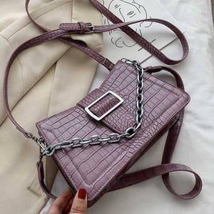Belt Design Small Chain Crocodile Pattern PU Leather Crossbody Bags For Women 2020 Shoulder Handbags Lady Cross Body Bag