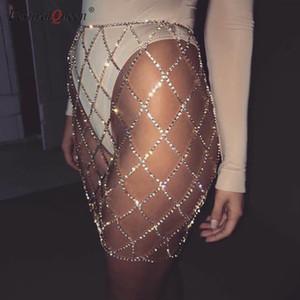 Festivalqueen сексуальные стразы женщины мини-юбка блестящие поддельные Алмаз Кристалл металлическая цепь лоскутное короткая юбка серебро золото SH190628