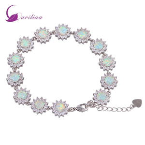 Glam Luxe Таинственные 925 Silver Overlay CZ белый огонь опал браслеты для девочек-подростков 22см 8,85 дюйма B461