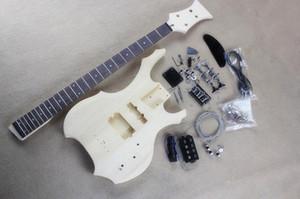 Kit de guitare électrique basse de forme inhabituelle personnalisée (pièces) avec 4 cordes, matériel chromé, guitare basse bricolage, offre personnalisée