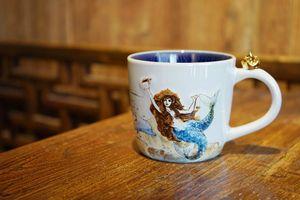 océan Starbucks authentique sirène Déesse Shanghai paysage Tasse anniversaire 3D poignée couronne d'or tasse à café en céramique 12OZ