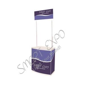 Kunststoff Promotion Klapptisch Ausstellung Display-Zähler mit Hart ABS Panels Poster Kopf Tragbare Tragetasche