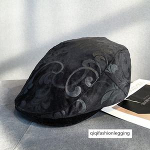 Autumn velvet flower cap men's and women's all-match warm beret leisure fashion forward hat