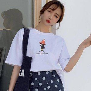 20190425 T-shirt en coton à manches courtes et à encolure arrondie