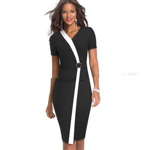 Designer-Frauen Reißverschluss Bodycon Kleider reizvolle dünne V-Ausschnitt, Bleistift-Kleider Sommer Panelled Fashion Büro-Dame-Kleider