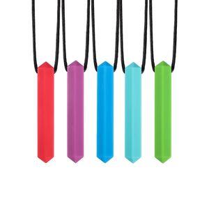 Sensorische Chew Halskette für Jungen und Mädchen beißen Chewable Gem Anhänger-Halskette Chew Schmuck Oral Zahnen Werkzeuge M736