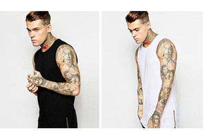 2019Design Zipper T Shirt Cool Men Boy Hip hop Sleeveless Long T shirts White Black Cotton Tees Sport Tank Top Jogger Vest LGF0434 wholesale
