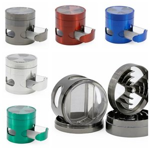 Grinder Signal Tooth Metal Grinders With Drawer Side Opening Window 4 Layers Herb Grinder Spice Crusher Muller Smoking Accessories DHB414