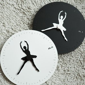 Ballet creative wall clock living room modern minimalist round personality artist with hanging watch clock wedding decorations ideas