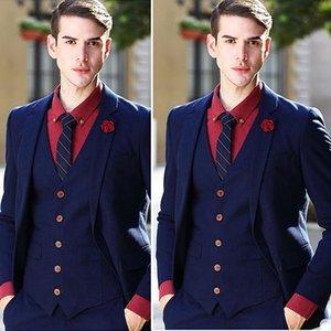 Handsome Navy Groomsmen Wedding Tuxedos Peaked Lapel Groom Mens Suits Slim Fit Man Jacket Blazer Suit (Jacket+Vest+Pants)